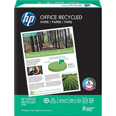 HP Recycled Copy Paper, 8-1/2 x 11, 92 Bright, 20 LB, 500 Sheets