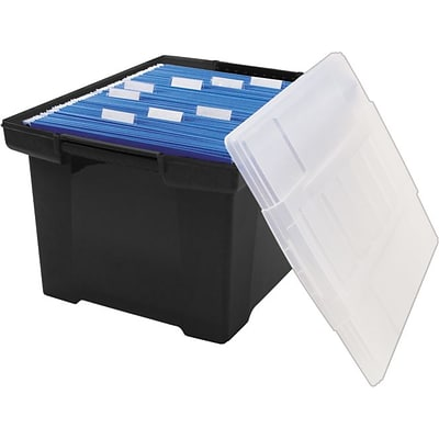 Storex Storage Plastic File Tote with Comfort Grips, Black/Clear (61528U01C)