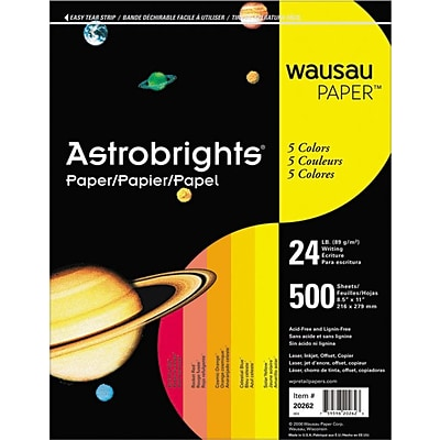 AstroBrights Colored Paper, 24 lbs., 8.5 x 11, Assorted Warm Colors, 500 Sheets/Ream (WAU20272)