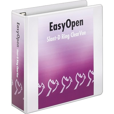 Cardinal® EasyOpen® ClearVue™ Locking Slant-D® 3 D-Ring Binder, View, White, 3-Ring