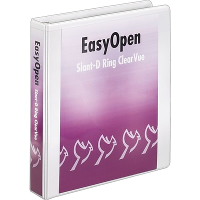 Cardinal® EasyOpen® ClearVue™ Locking Slant-D® 1-1/2 D-Ring Binder, View, White, 3-Ring
