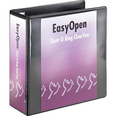 Cardinal EasyOpen ClearVue 4-Inch D-Ring View Binder, Black (10341)