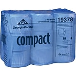 Compact®, White coreless High Capacity 2-Ply Bathroom Tissue, 1500 Sheets/Roll, 18 Rolls/Case, (1937