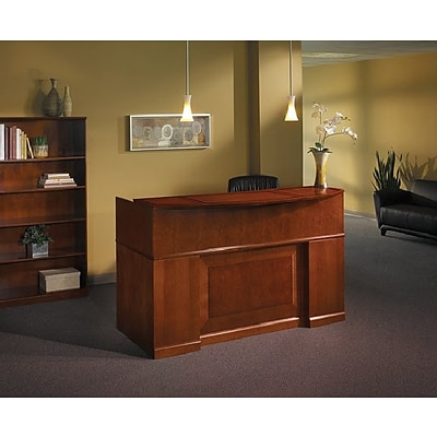Mayline® Sorrento, Bourbon Cherry, Reception Station w/Veneer Transaction Counter