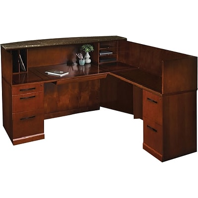 Mayline® Sorrento, Bourbon Cherry, Reception Station w/Right Return, Marble Counter