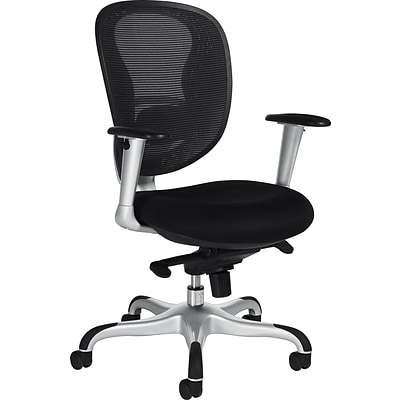 Offices To Go® Executive Mid-Back Chair, Mesh, Black, Seat: 20 1/2W x 18D, Back: 19W x 21H