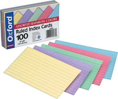 "Index Cards, 3"" x 5"", Ruled, Assorted Colors (40280)"