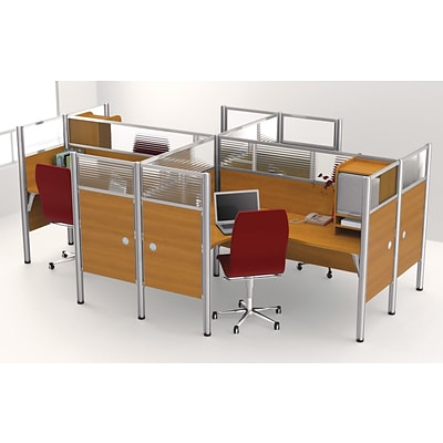 Bestar® Pro Biz Collections in Cappuccino Cherry, Quad L-Shaped Workstation