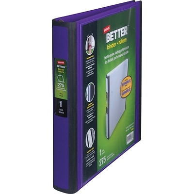 Better 1-Inch D-Ring View Binder, Purple (19065)