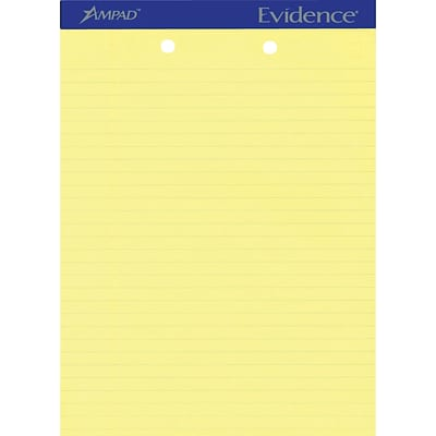 Ampad® Evidence® Ruled Pad 8-1/2x11-3/4, Wide Ruling, Canary, 50 Sheets/Pad, Punched (20-224)