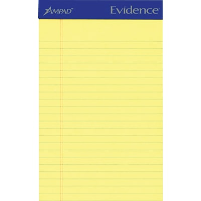 Ampad Evidence® Writing Pads, Canary, Jr. Legal Ruled, 5 x 8, 50 Sheets/Pad, 12/Pk