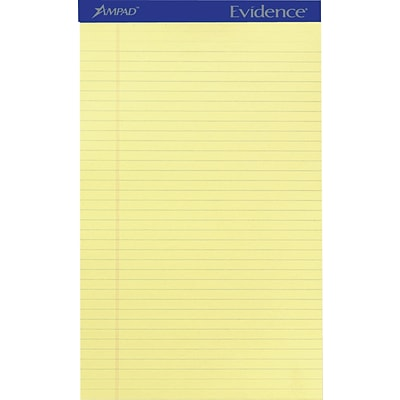Ampad Evidence® Writing Pads, 8-1/2 x 14, Legal Ruled, Canary, 50 Sheets/Pad, 12/Pack