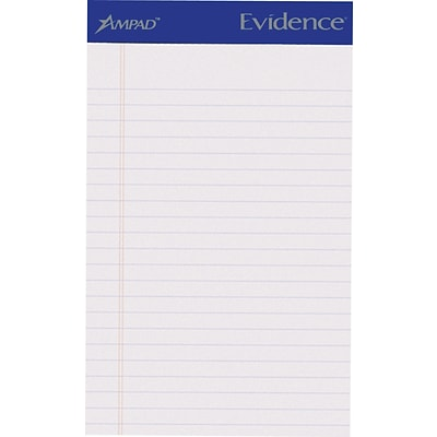 Ampad® Evidence® Ruled Pad 5x8, Jr. Legal Ruling, White, 50 Sheets/Pad