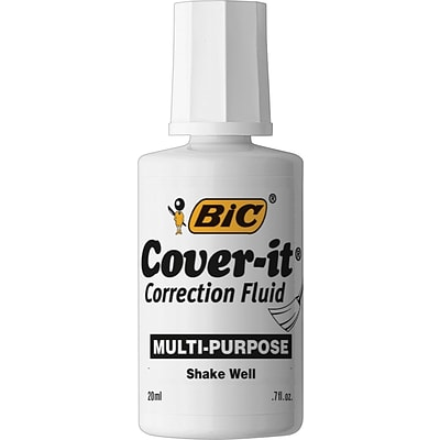 BIC® Cover-It® Correction Fluid, White, Each