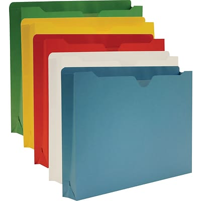 Staples Colored File Jackets, Letter, 2 Expansion, Assorted, 10/Box (606616)
