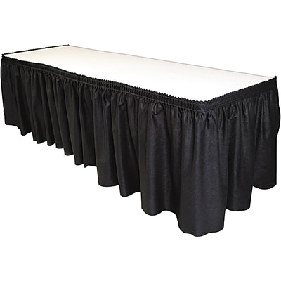 Tablemate Polyester Table Skirt, Black 14L x 29H