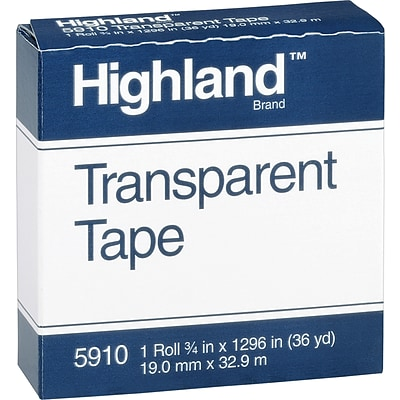 Highland™ Transparent Tape, Glossy Finish, 3/4 x 36 yds., 1/Pack (5910)