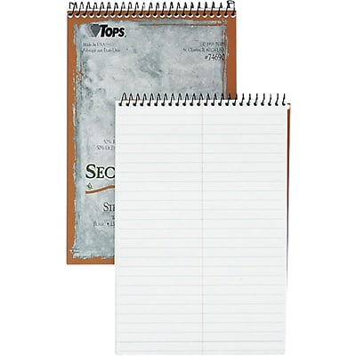Tops® Second Nature® Recycled Steno Pads; 6x9, Gregg Rule, White, 70 Sheets/Pad