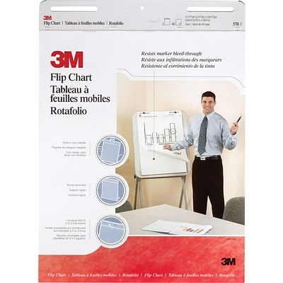 3M™ Flip Chart 570, 25 x 30, 40 Sheets/Pad, White, 2/Pack
