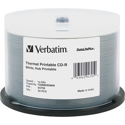 Verbatim DataLifePlus CD-R White Thermal, Hub Printable Spindle, 52x, 700MB, 50/pk