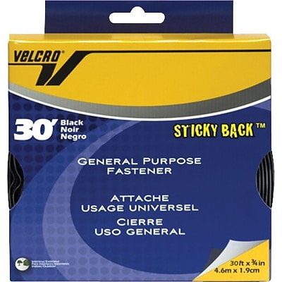Hook and Loop Tape, Roll, Sticky Back, 3/4x30, Black