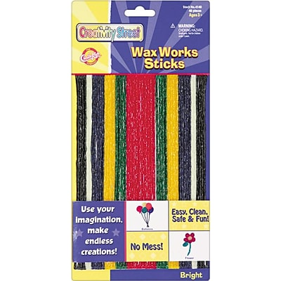 Chenille Kraft Wax Works Strips, Bright Hues Colors, 48 Pieces