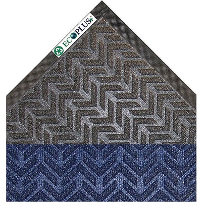 Crown® EcoPlus™ Scraper/Wiper Entrance Mat, 35x59, Polyester, Blue