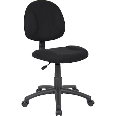 Boss Deluxe Posture Fabric Task Chair, Armless, Black