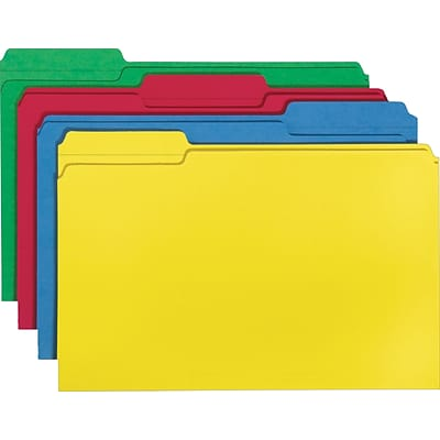 Smead® File Folder, 1/3-Cut Tab, Legal Size, Assorted Colors, 100 per Box (16943)