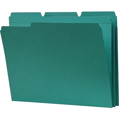 Smead File Folder, 3 Tab, Letter Size, Teal, 100/Box (13134)