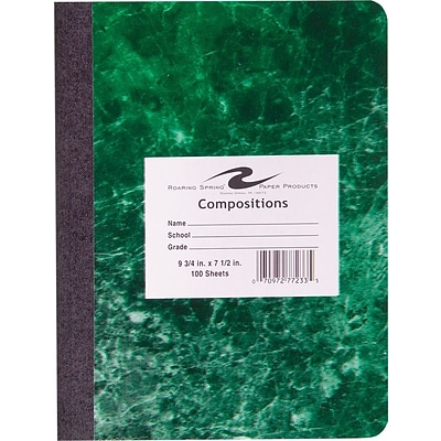 Roaring Spring Hard Cover Composition Book, Assorted Real Marble Colors, 9 3/4 x 7 1/2, Wide Ruled, 100 Sheets