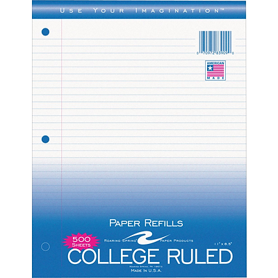 Roaring Spring® College Ruled, Loose Notebook Filler Paper, 8.5 x 11, White, 500/Pack (83909)