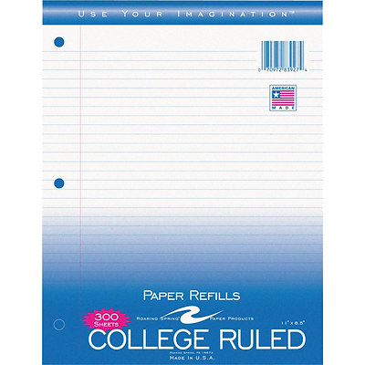 Roaring Spring® College Ruled Loose Notebook Filler Paper, 8-1/2x11, 300 Count