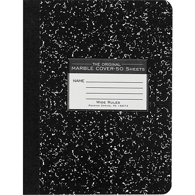 Roaring Spring® Composition Book 7-1/2x9-3/4, Wide Ruling, White, 50 Sheets/Pad