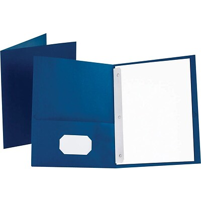 Oxford® Twin Pocket Folder, 3 Fasteners, Blue, LETTER-size Holds 8 1/2 x 11, 25/Bx