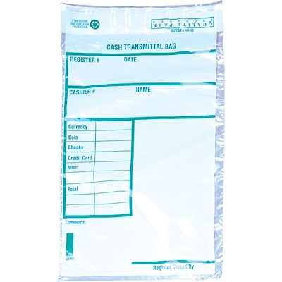 Quality Park® #55 Polyethylene Tamper-Evident Cash Transmittal Bag, Clear (45220)