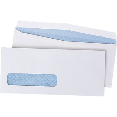 Quality Park Gummed V-Flap Security Tinted Window #10 Envelopes, 4 1/8 x 9 1/2, White, 500/Bx (QUA90130)