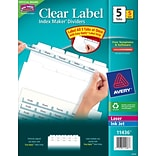 Avery® White 5 Tabs Clear Label Dividers