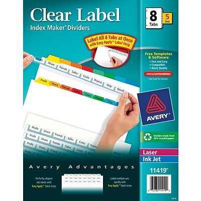 Avery® Index Maker® Clear Label Dividers, Easy Apply™ Label Strip, 8-Tab, 5 Sets, Multi-Color