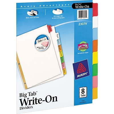 Avery® Big Tab™ Write-On Dividers With Erasable Tabs, 8-Tab Set, Assorted Color
