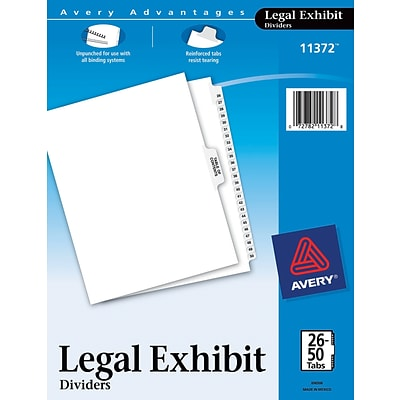 Avery® Legal Index Exhibit Dividers, Numerical 26-50 & Table of Contents, Letter Size