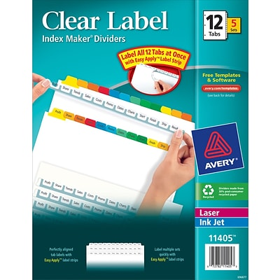 Avery® Index Maker® Clear/Colored Label Dividers for Laser/Inkjet Printers, 12 Tabs, 5 Sets