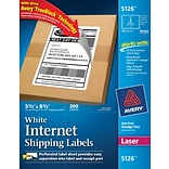 Avery® 5126 White Internet Shipping Labels; Laser, 5-1/2 x 8-1/2, 200/Pack