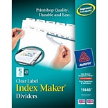 Avery Index Maker Label 5-Tab Dividers, 8 1/2 x 11, White, 25/Box (11446)