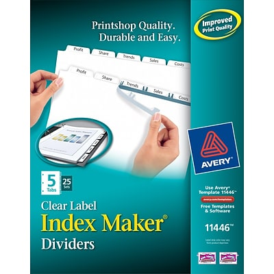 Avery Print & Apply Index Maker Dividers, 5 White Tabs, 25 Sets (11446)