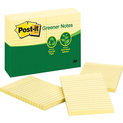 Post-it® Recycled Notes, 4 x 6, Canary Yellow, 12 Pads/Pack (660RPYW)