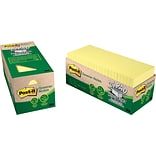 Post-it® Recycled Notes, 3 x 3, Canary Yellow, 24 Pads/Cabinet Pack (654R24CPCY)