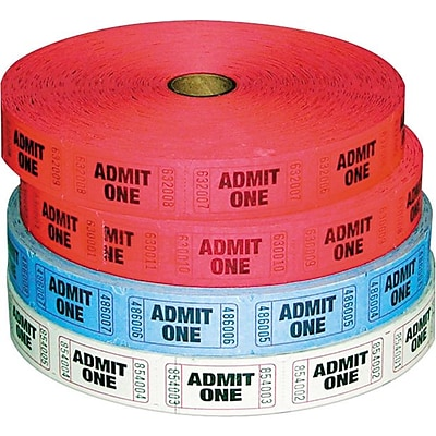PM® Company Raffle Ticket Rolls, Admit One, Single Ticket, Numbered, Multi-Pack, 2000/Roll