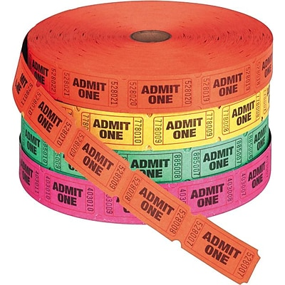 PM® Company Raffle Ticket Rolls, Admit One, Single Ticket, Numbered, Assorted, 2,000/Roll, 4/Pack