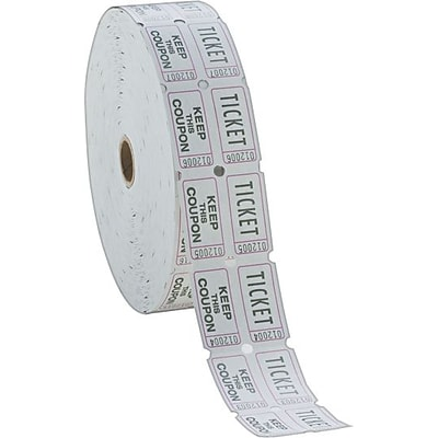 PM® Company Raffle Ticket Rolls, Double Ticket, Numbered, White, 2000/Roll